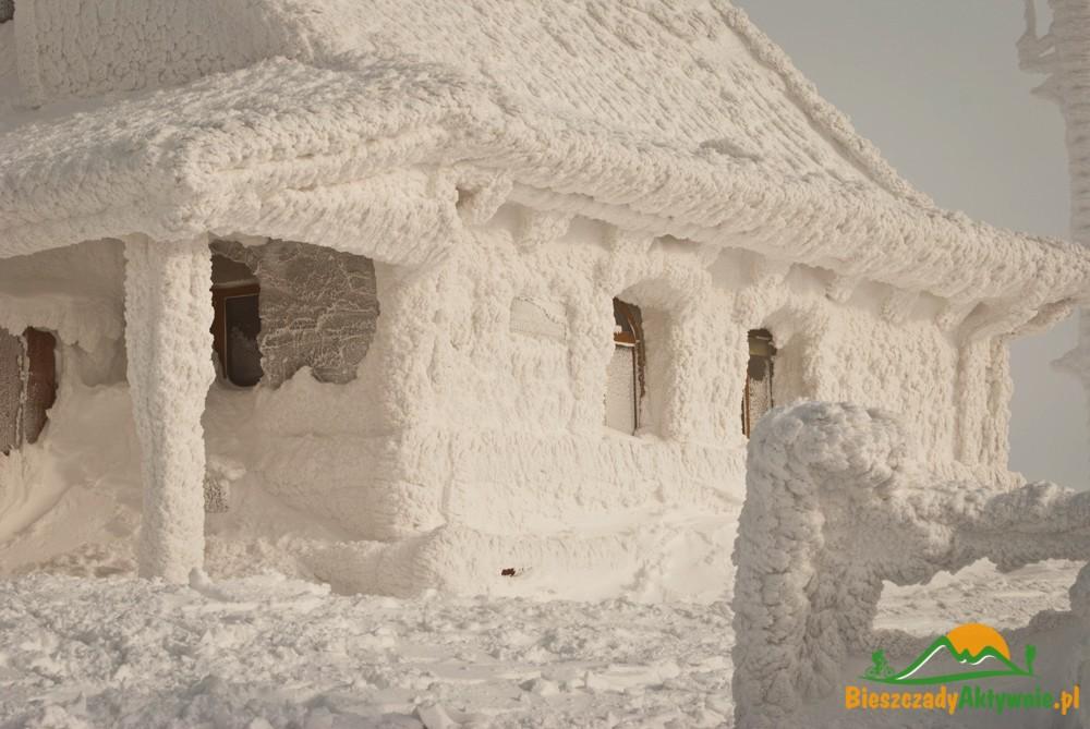 Chatka Puchatka pokryta śniegiem.
