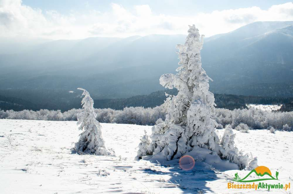 Widoki w Bieszczadach zimą.